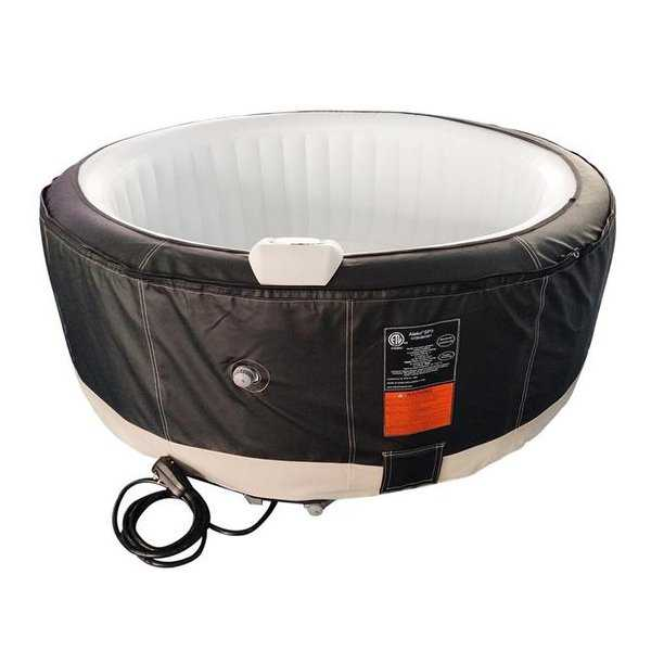 210 gal Round Inflatable Hot Tub Spa with Zip Cover, Black &